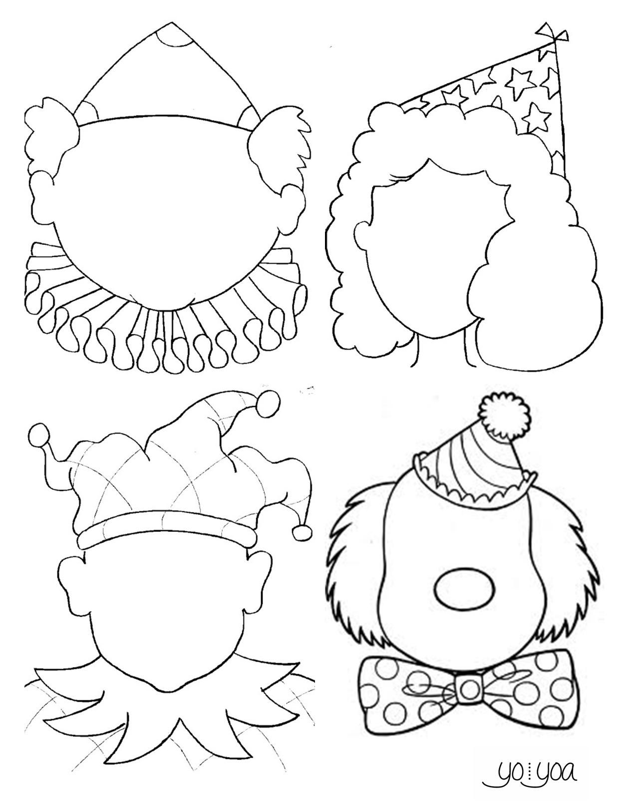 Caretas Para Dibujar El Rostro Y La Expresion Colorear Maquillando Recortar Y Decorar Arlequin Hada Y Payaso Art Lessons Drawing Course Art Drawings