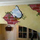 Bird in Wall and Breakaway Bricks Mural Transfer Wall Decal