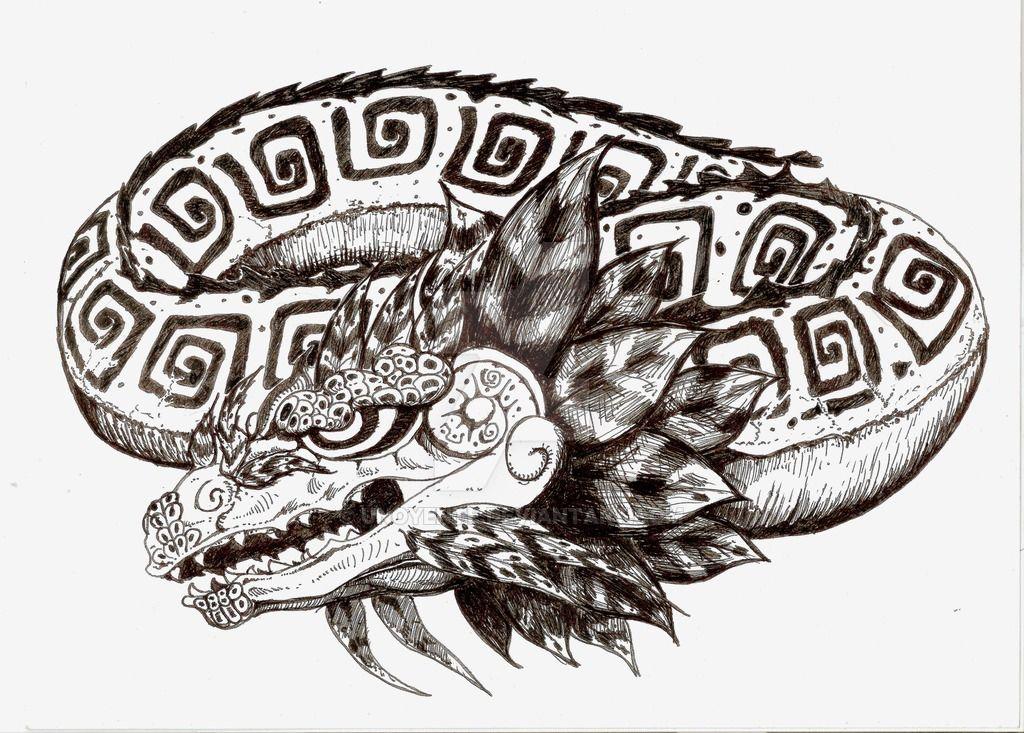 bb9d0a915 Quetzalcoatl Dragon Tattoo Design by Unoyente | Tattoos | Dragon ...