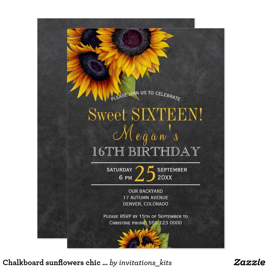 chalkboard sunflowers chic rustic sweet sixteen invitation in 2018