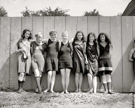 """""""Bathing beach, 1920."""" Seven lovelies at the Potomac bathing beach near the Tidal Basin. National Photo Company Collection glass negative."""