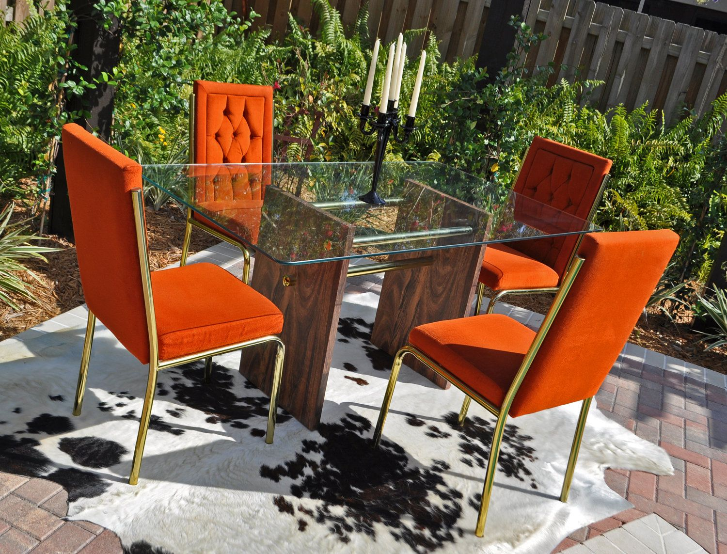burnt orange 60s-70s retro dining table and chairs | retro dining