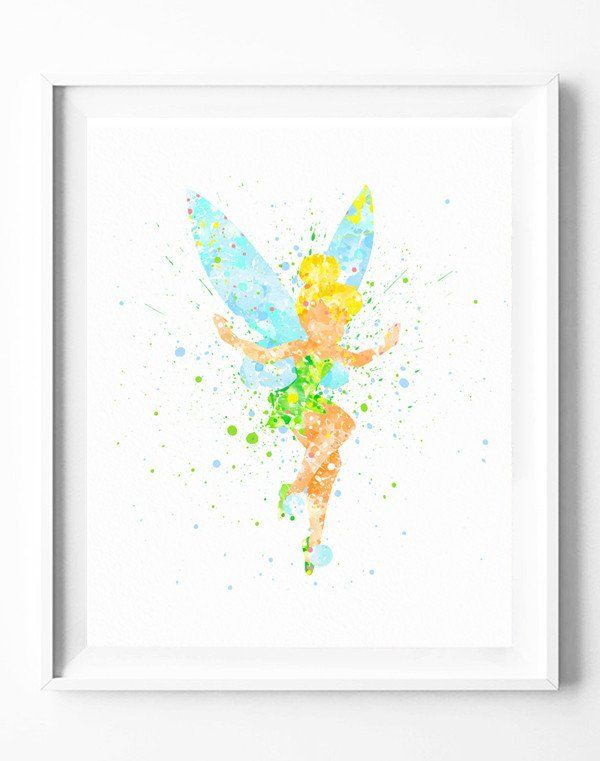 Disney Peter Pan Tinker Bell Art Print Poster Watercolor Painting