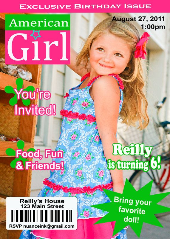 american girl birthday party invitations: free printables, Birthday invitations