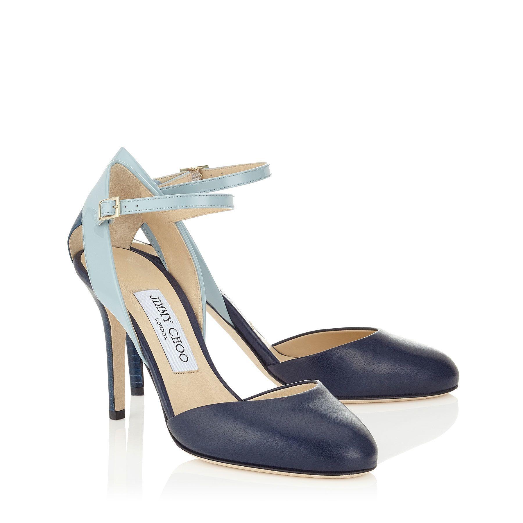 Escarpins en cuir nappa bleu marine, cuir verni bleu et cuir de chevreau bleu océan|Lisco 90| Pré-Collection Automne-Hiver 2015 | JIMMY CHOO Chaussures