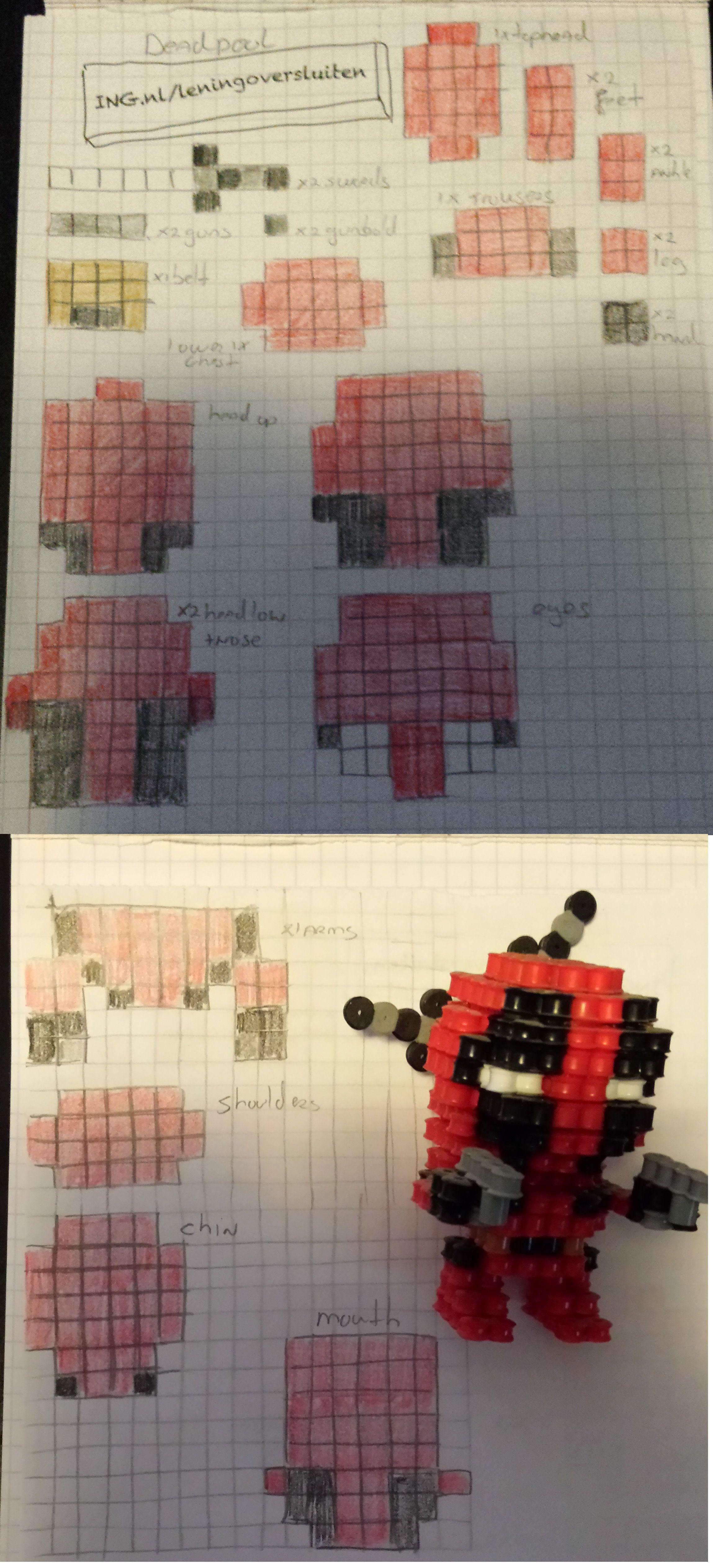 Deadpool Bugelperlen Bugelperlen Perler Bead Designs