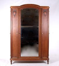 Antique French Armoire Wardrobe Oak Mirrored 19th Century