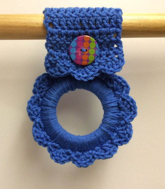 Blue kitchen towel hanger, crochet towel hanger, button towel hanger ...