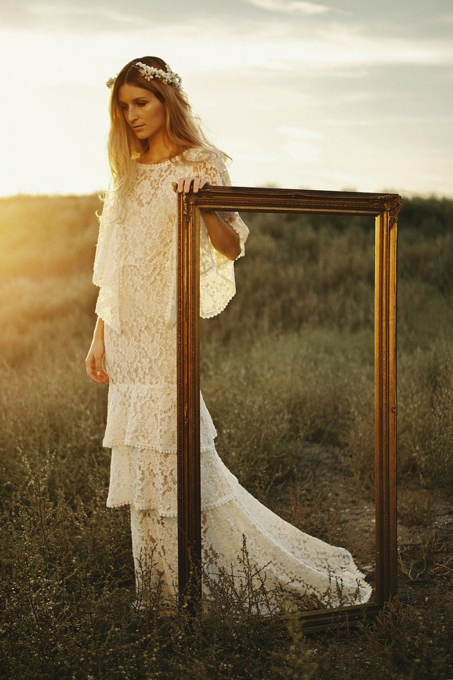 Lace hippie wedding dress  Tiered lace boho wedding dress by indie bridal label Dreamers