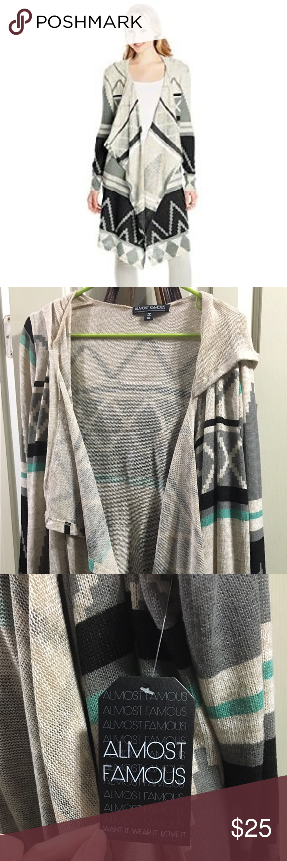 Almost famous Aztec hoodie duster cardigan NWT xl Boutique   Long ...