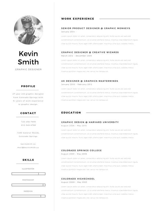 CV Resume Kevin Smith - Entretiengo Modern Resume Template - high school resume template download