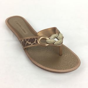168fcc1f6 Grendha By Shakira Womens flip flops Sandals metallic sz 9 US embellished  Gold