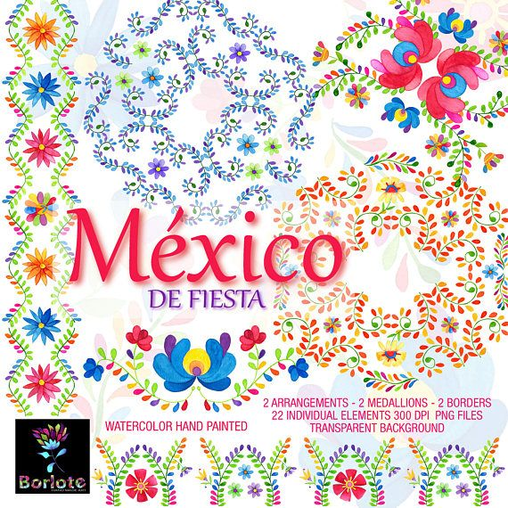 Mexican Flowers Watercolor Flowers Fiesta Mexicana Clipart 00