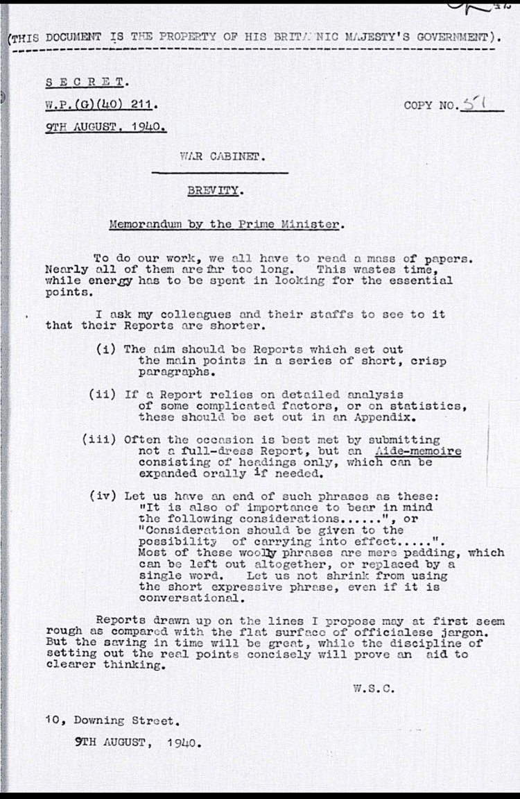 This Memo From Winston Churchill On Brevity Is All You Need To Improve Your Writing Brevity Churchill Yes Minister