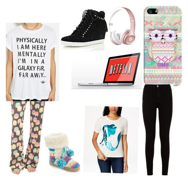 """""""Sleepover outfit"""" by tyanna955 on Polyvore featuring Casetify, P.J. Salvage, Forever 21, Muk Luks, Mighty Fine, River Island, 7 For All Mankind, women's clothing, women's fashion and women"""