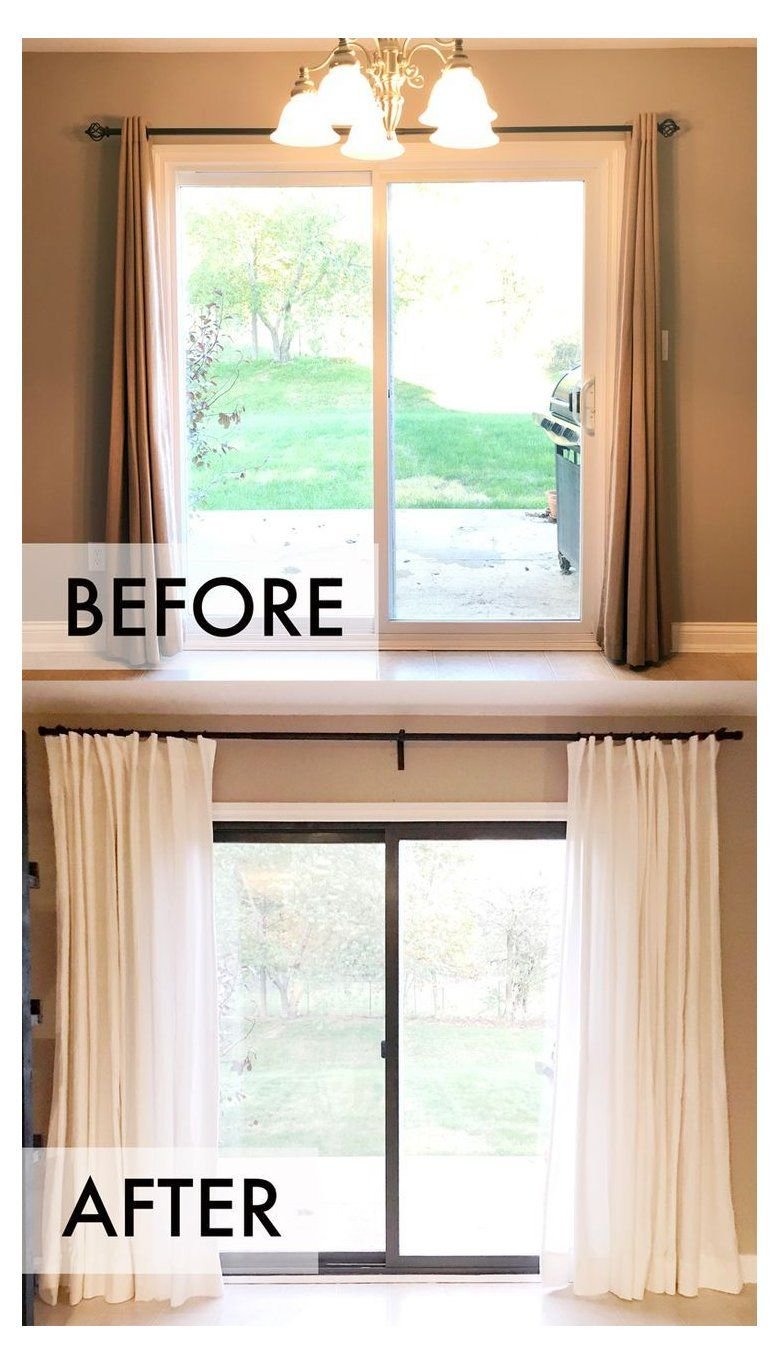 One Room Challenge Week 3 Small Upgrades Big Impact Curtains Over Sliding Glass Doo Sliding Glass Door Curtains Door Coverings Sliding Glass Door Window