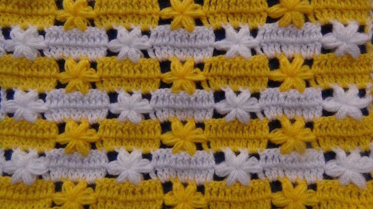 Punto a crochet para Mantitas o Colchitas de Bebe en puntos altos y ...