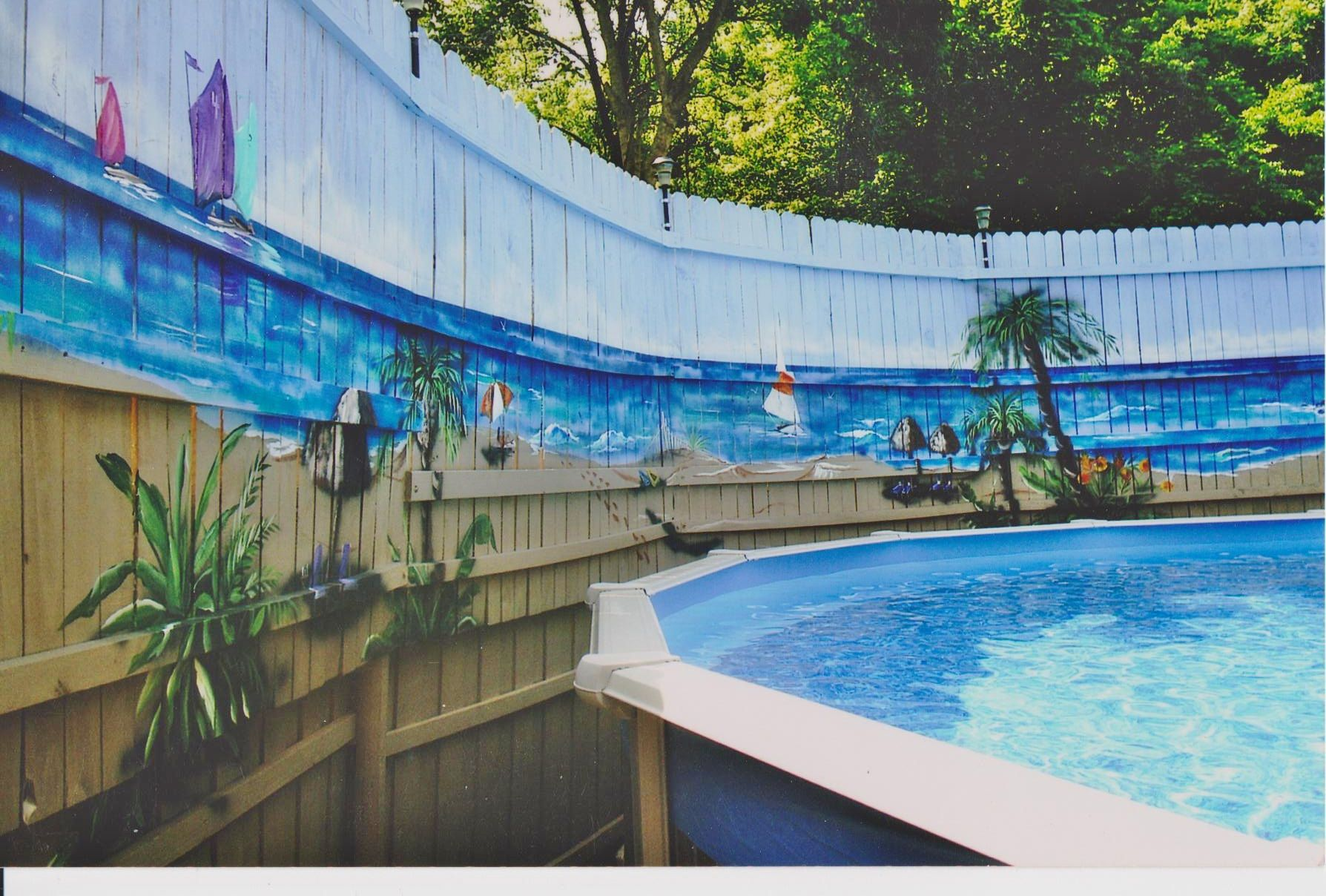 I Painted The Fence Like A Beach Murals For Inside And Out In 2019