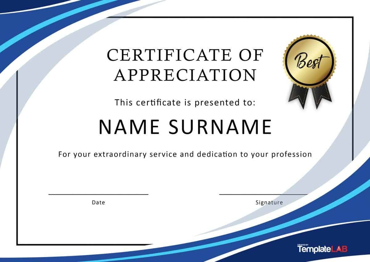 Free Certificate Of Appreciation Templates And Letters Pertaining T Certificate Of Recognition Template Certificate Of Appreciation Free Printable Certificates