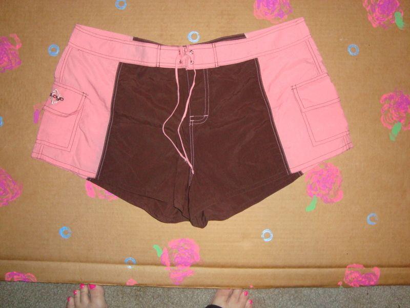 NEW Playa Board Shorts Size L Brown & Hot Pink
