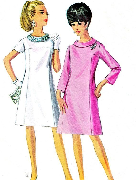 1960s Dress Pattern Simplicity 7355 Mod Yoked Funnel Neck Day or ...