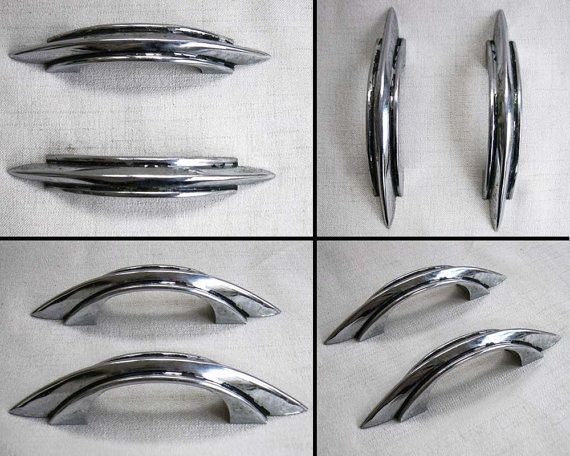 Set Of Two Art Deco Antique Chrome Metal Drawer Handles Pulls Or Cabinet From The 1930s 1940s These Are A Clic Double