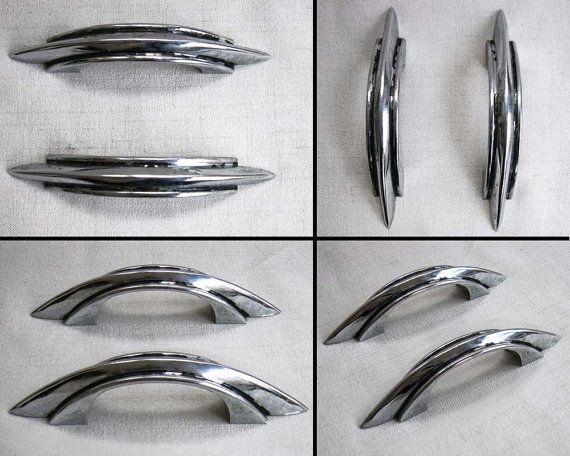 Set of two Art Deco antique chrome metal drawer handles, drawer ...