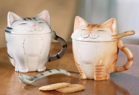 Cat Coffee Mugs With Lids By Winston Brands I Want These