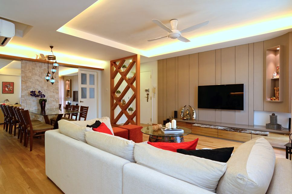 Indian Crib Cozy Modern Home In Singapore Developed For An - Apartment living room interior design india