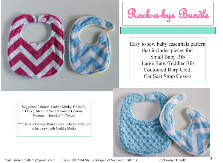 FREE Baby Bib Set Pattern // The Rock-a-bye Bundle | minky--boutique ...