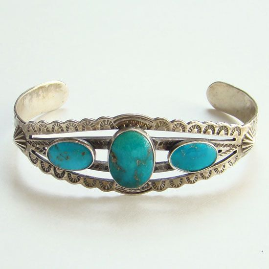 Fred Harvey Era Navajo Turquoise Cuff Bracelet Sterling Silver Stamped Decoration Bohemian Boho Chic by redroselady on Etsy