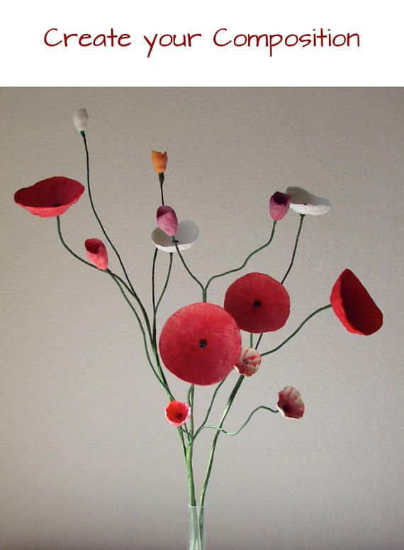 Red White Paper Flowers Branch. Paper Flower with stems, Paper Flower Arrangement, Composition, Home Decoration, Modern Centerpieces, Wedding decor Paper Mache Art A Modern and Artistic Paper Flowers Branch to create a Floral Composition ! This Paper Flower arrangement would be a #paperflowercenterpieces