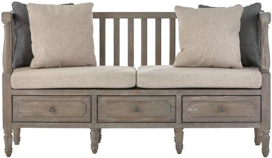 Archer Rustic Bench With Cushions And Pillows By Home