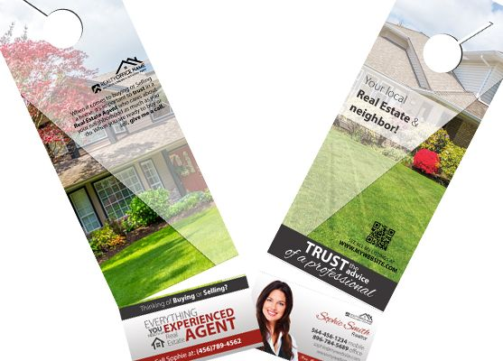 2 In 1 Door Hangers With Business Cards Real Estate Hanger Rip Card S Holder