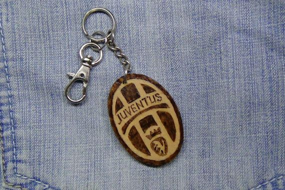 Keychain wood key chain wooden football gifts for husbandpyrography juventus italy football juve football fan gift for boyfriend