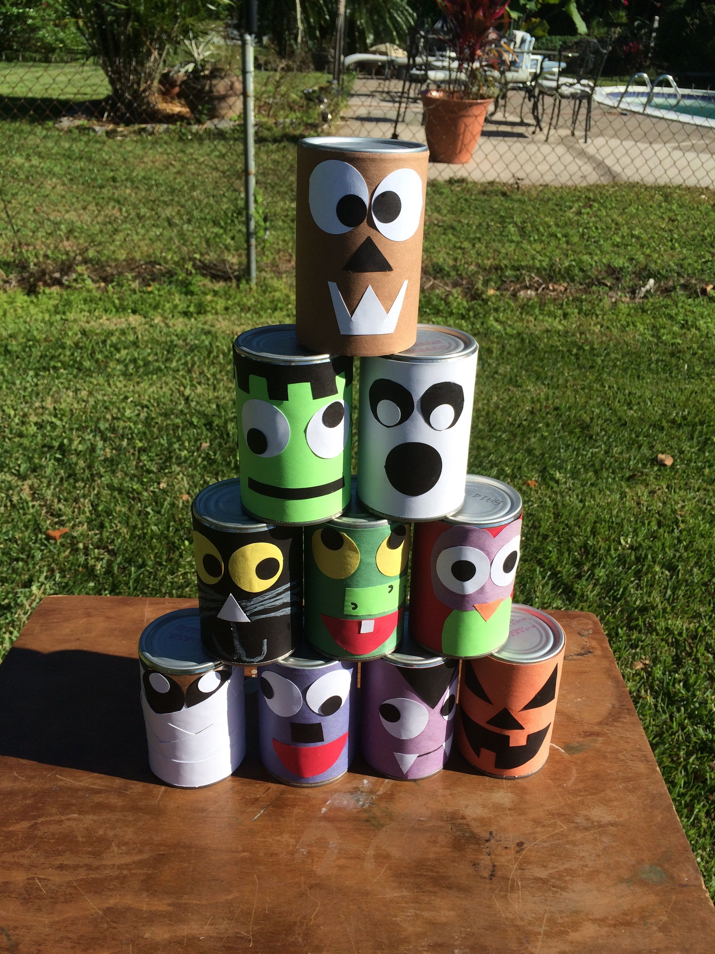 Spooky Can Toss The Girls And I Made Spooky Faces On Cans