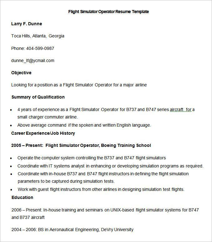 Sample Flight Simulator Operator Resume Template , How to Make a - Making A Resume For A Job