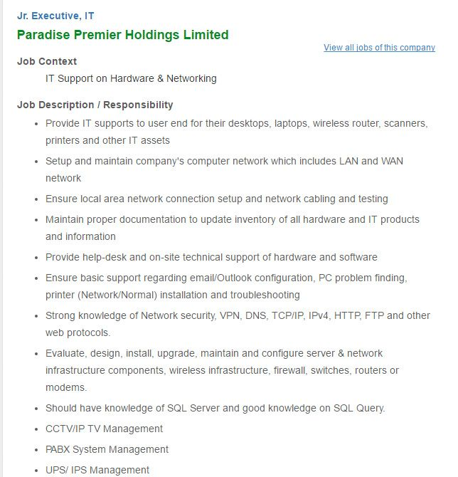 Career u2013 Paradise Premier Holdings Limited u2013 Position Jr - webmaster job description