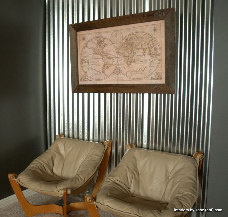 Sheet Metal Wall? At Interiors By Kenz: DIY Old Map Frame In Reclaimed  Fence Wood Tutorial