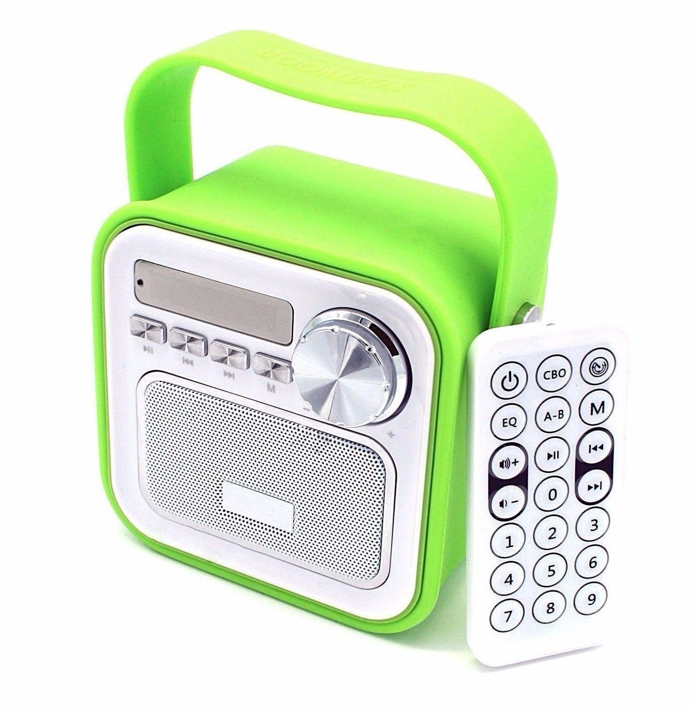 Mini Bluetooth Lautsprecher Mit Radio Fm In Grun Aux Bluetooth Usb Anschluss Fernbedienung Uhrzeit Kuchenradio Ba Fernbedienung Bluetooth Lautsprecher Musikbox
