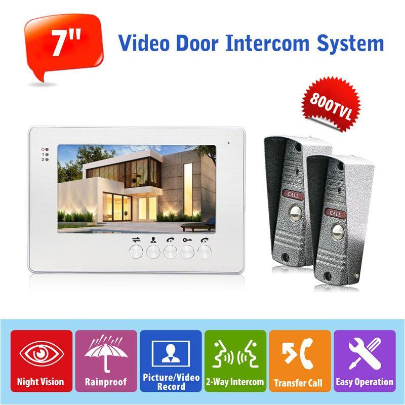 Door Access Control 7 High Resolution Color Video Doorphone Door