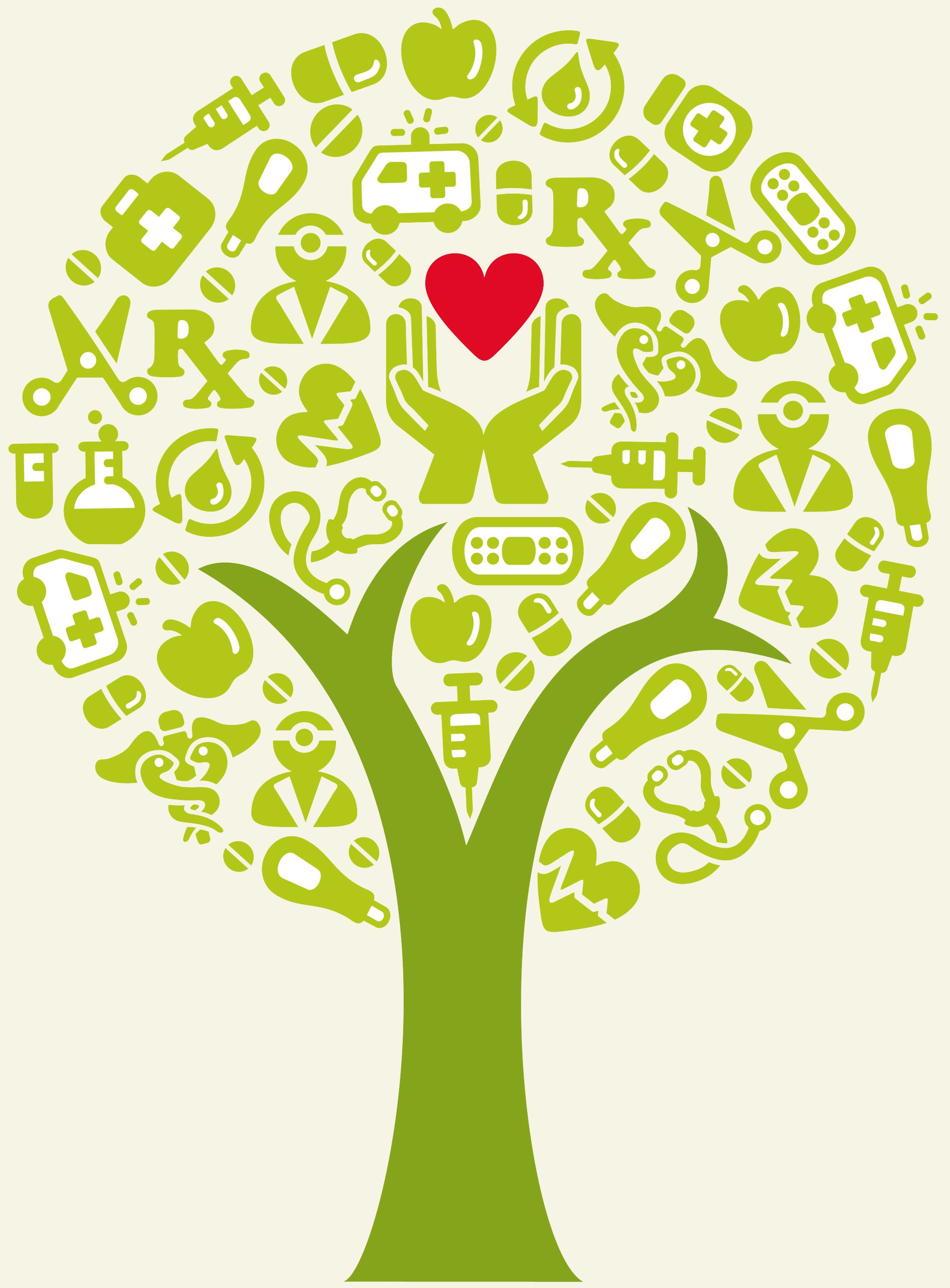 A Tree With Health Icons Arranged Created With Adobe