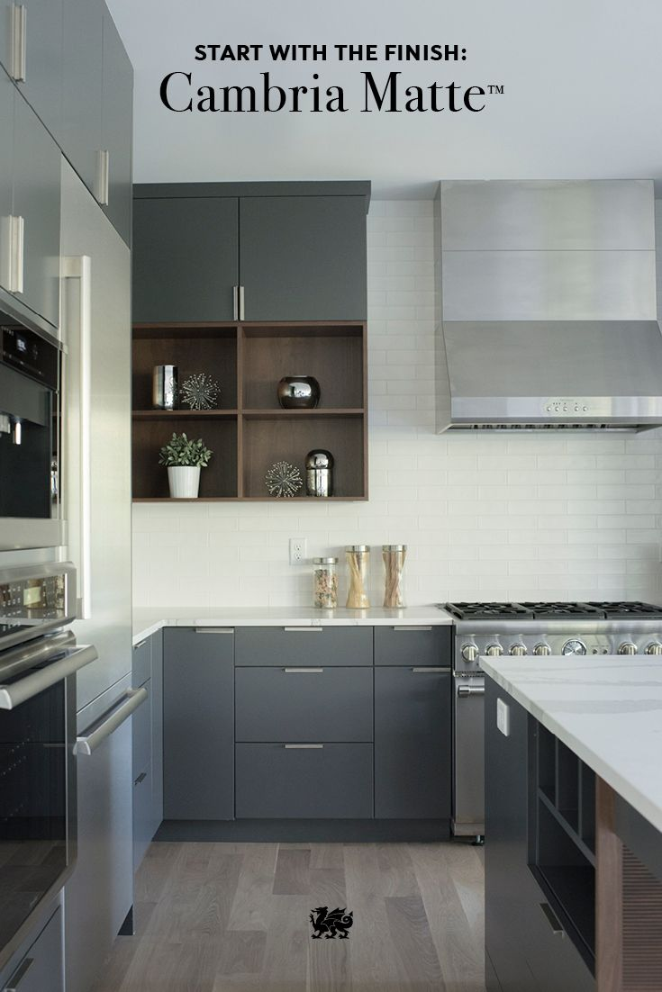 A Matte Finish Is A Modern Trend For Kitchen Design Cambria Matte - Matte grey kitchen