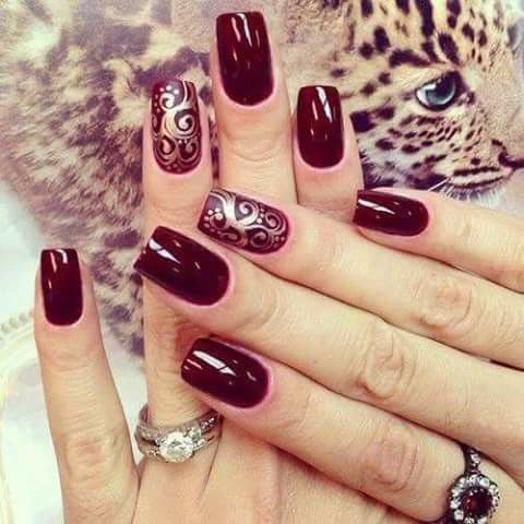 Pin De Cristina Villalobos En Color Vinotinto Nail Designs Nails