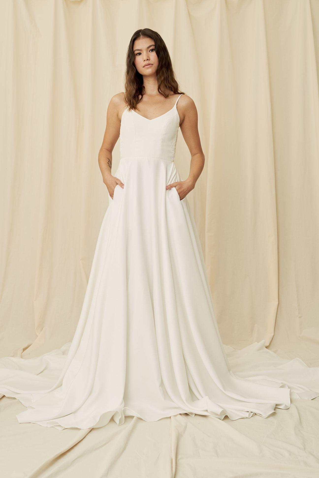 Anna Crepe wedding dress, Dresses, Lace dress