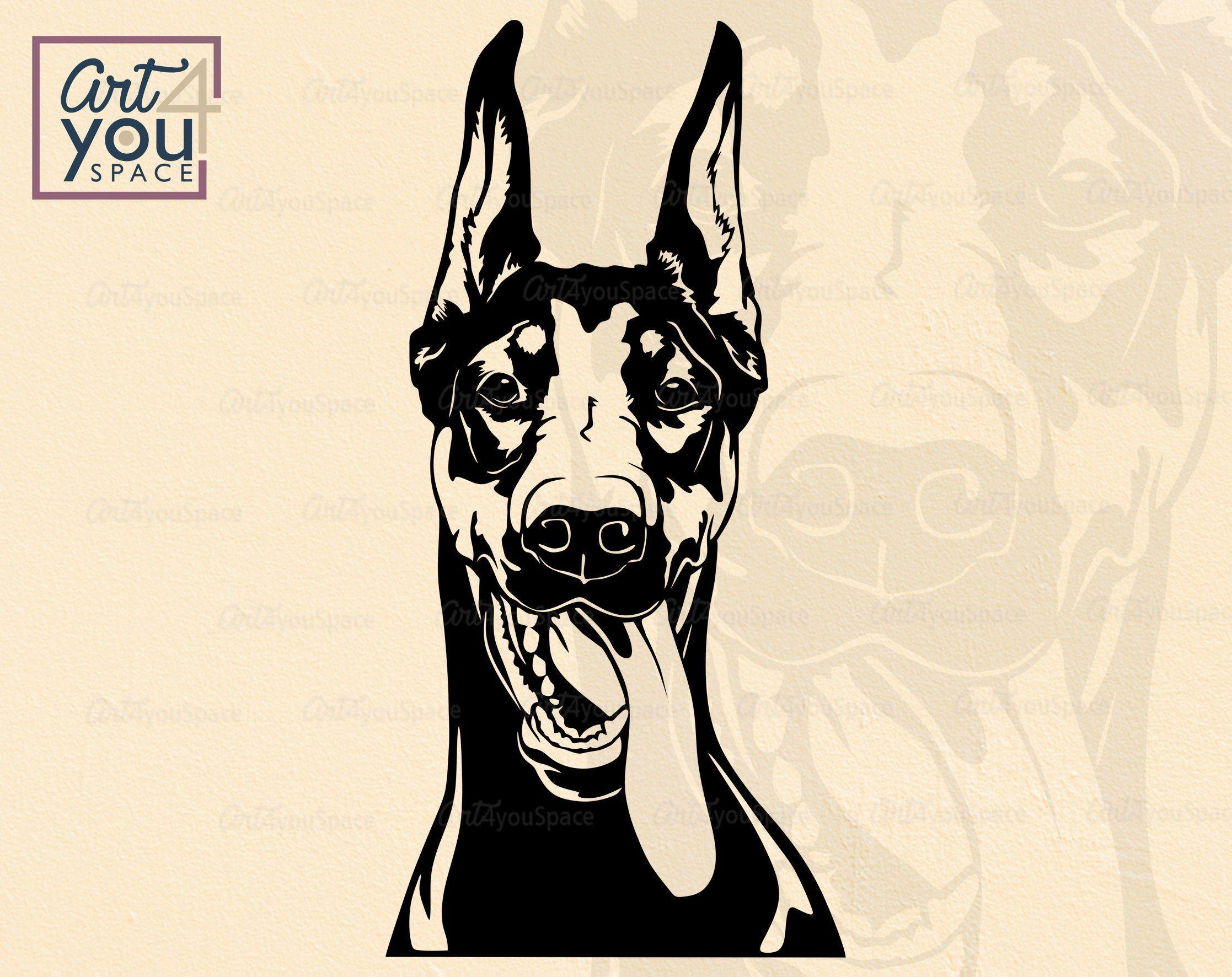 Doberman Svg Dog Svg Files For Cricut Doberman Pinscher Vector