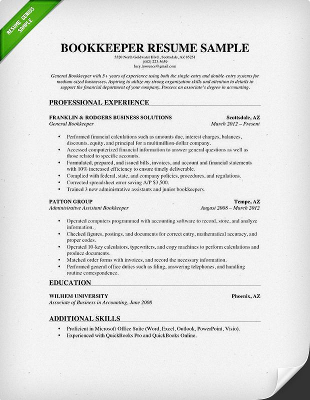 Bookkeeper Resume Sample  Projects to Try  Sample resume Professional resume samples Job resume
