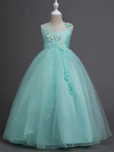 e79e2c72f7fae Flower Girl Dresses Princess Kids Pageant Dress Mint Green Lace ...