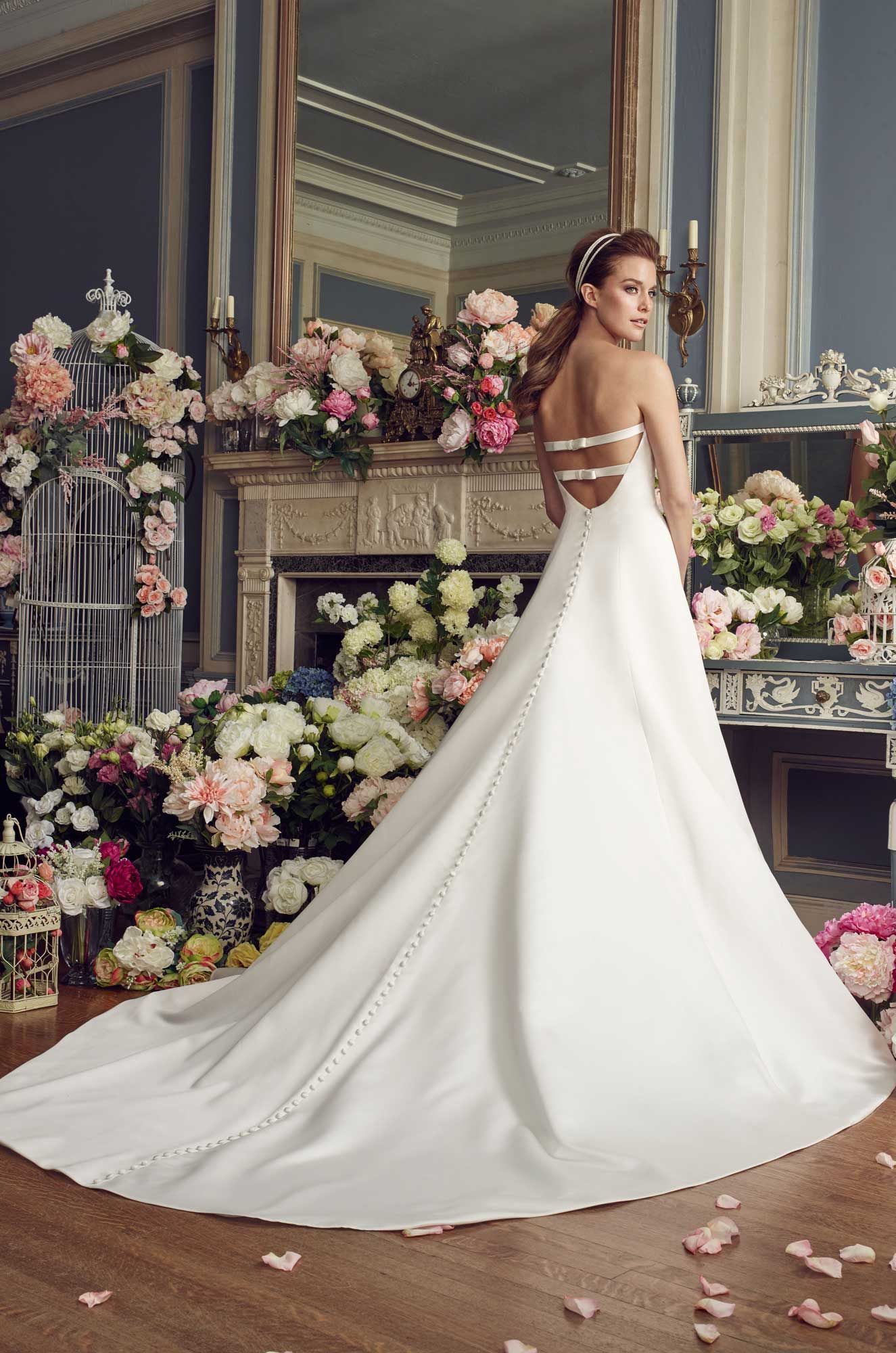 Wedding dress with bow on back  Satin Bow Wedding Dress  Style   Fall  Collection