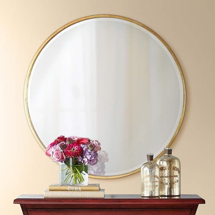 Uttermost Mayfair Antique Gold 34 Round Wall Mirror 8r190 Lamps Plus Round Wall Mirror Mirror Wall Large Round Wall Mirror